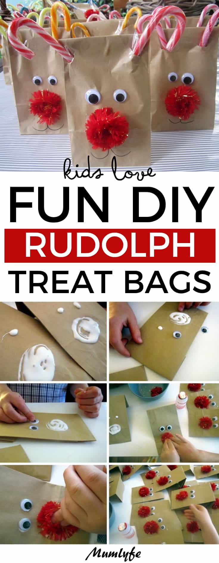 Kids love these fun DIY Rudolph treat bags. #Rudolf #Christmas #Christmascrafts #DIYChristmas #kids