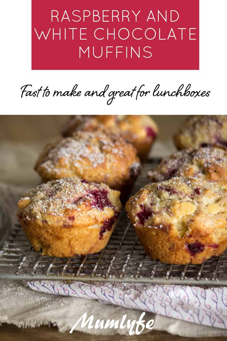 Coconut, raspberry and white chocolate muffins