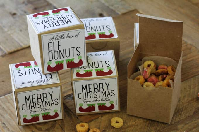Elf donuts free printable label
