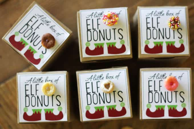 Elf donuts free printable label