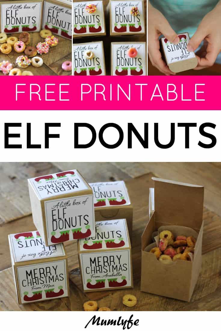Elf donuts free printable labels