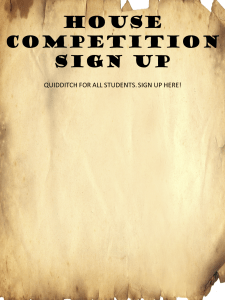 Harry Potter quidditch sign-up sheet