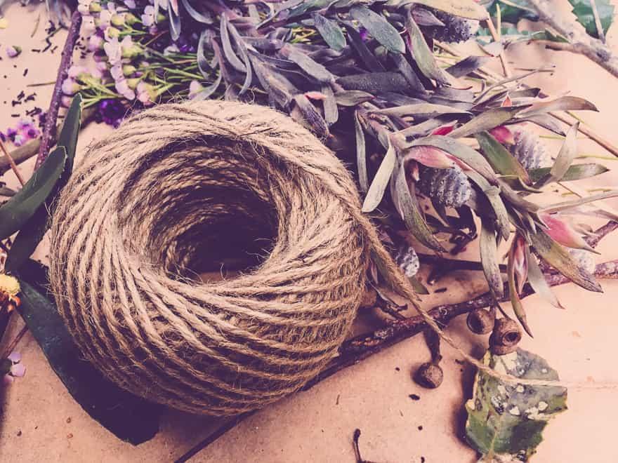 Natural Christmas Wreath DIY string