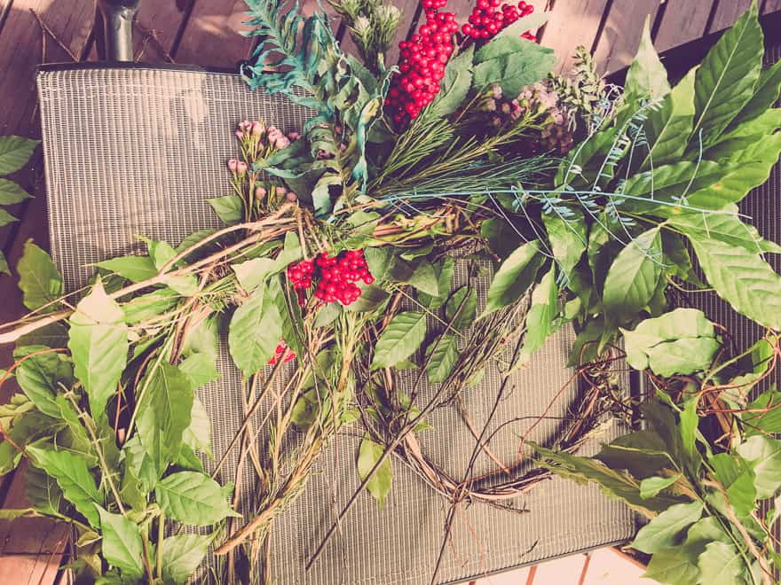 Natural Christmas Wreath DIY starting out