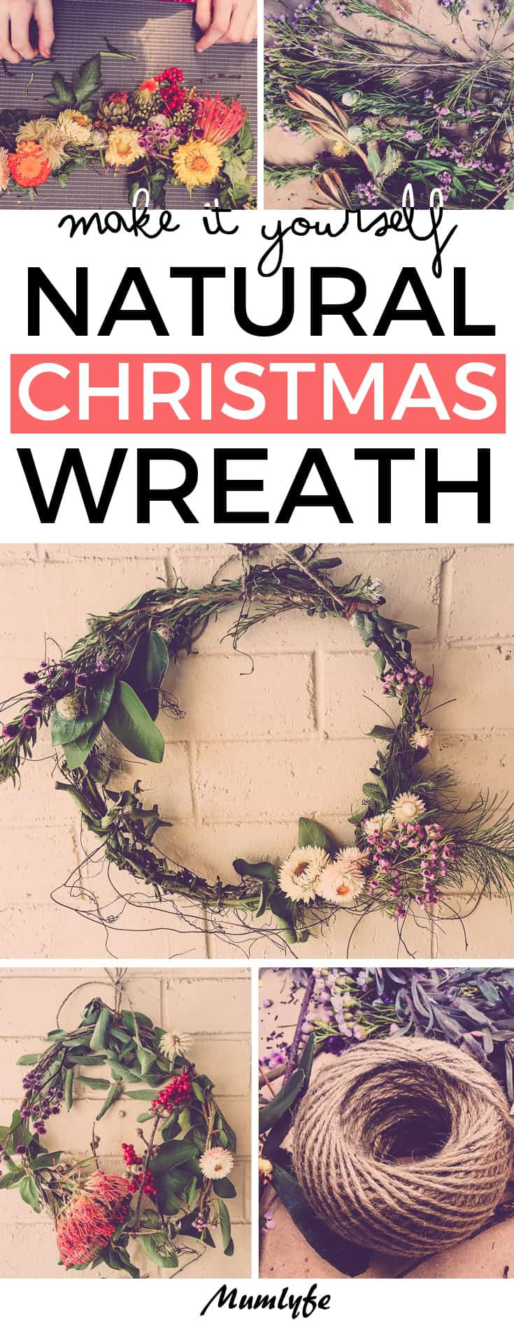 DIY Christmas wreath - all natural, gorgeous and easy #Christmas #wrreath #Christmaswreath #diy #Christmascrafts #craft
