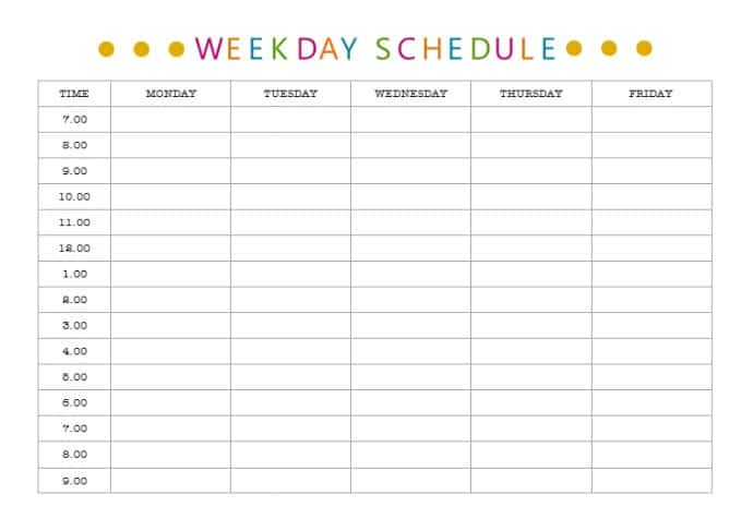 Get organised - weekly schedule Life Love and Hiccups