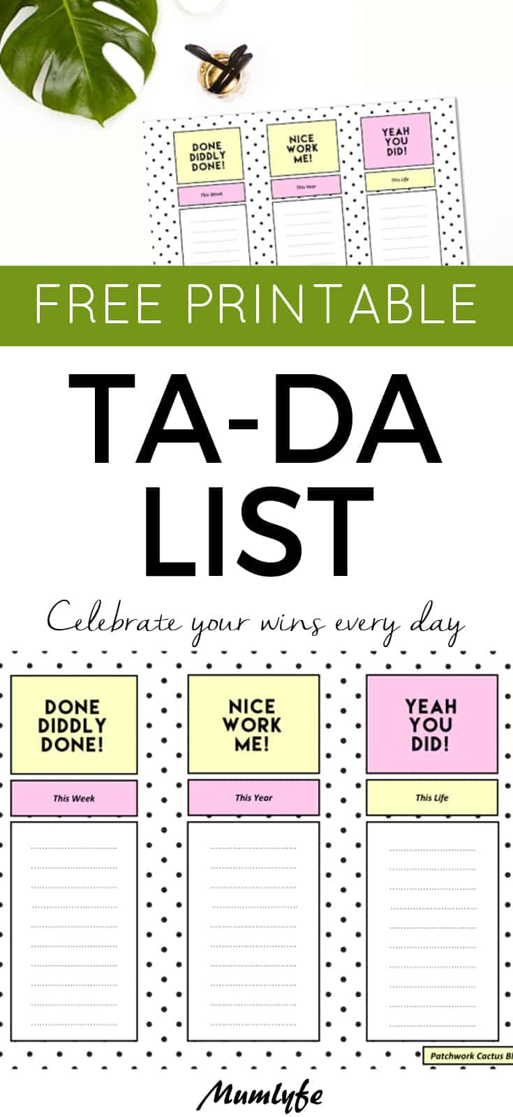 Free Printable Ta Da List - celebrate your wins every day