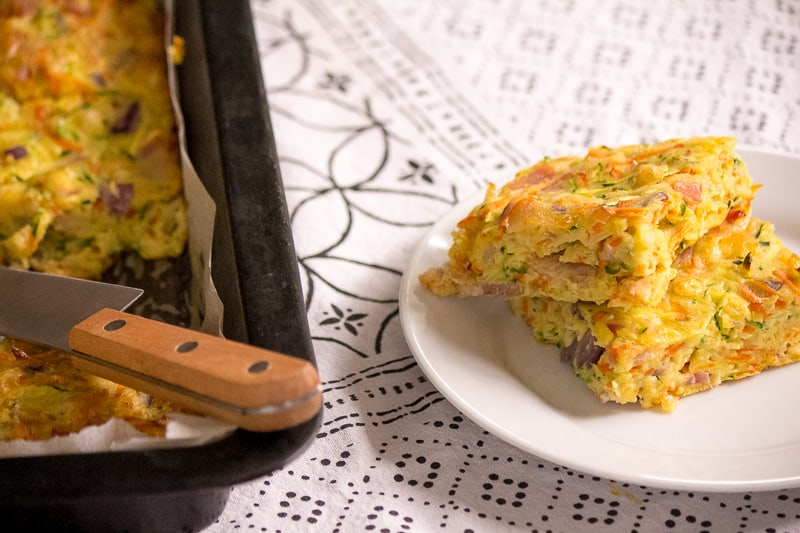 Zucchini and carrot slice - great for the lunchbox