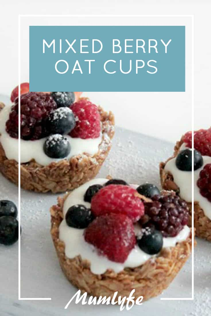 Yoghurt and mixed berry oat cups recipe
