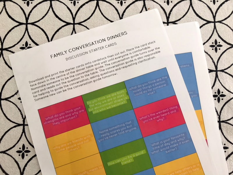 Family conversation dinners - cards to print for family conversation
