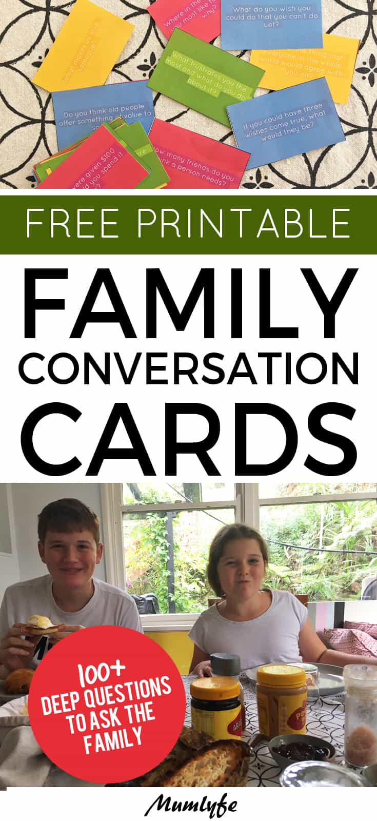 Family conversation cards - free printable
