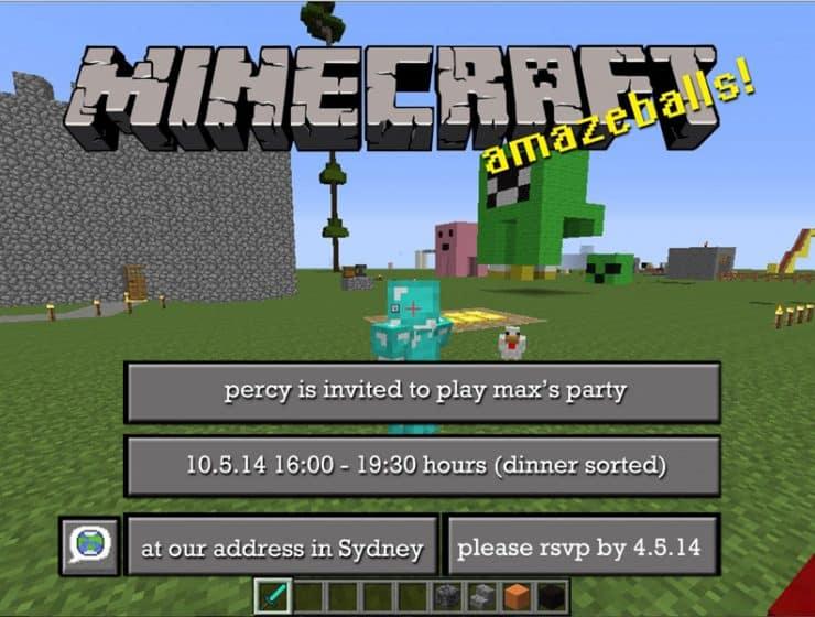 Free Minecraft invitations - edit and print