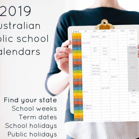 2019 Australian public school calendar - find your state
