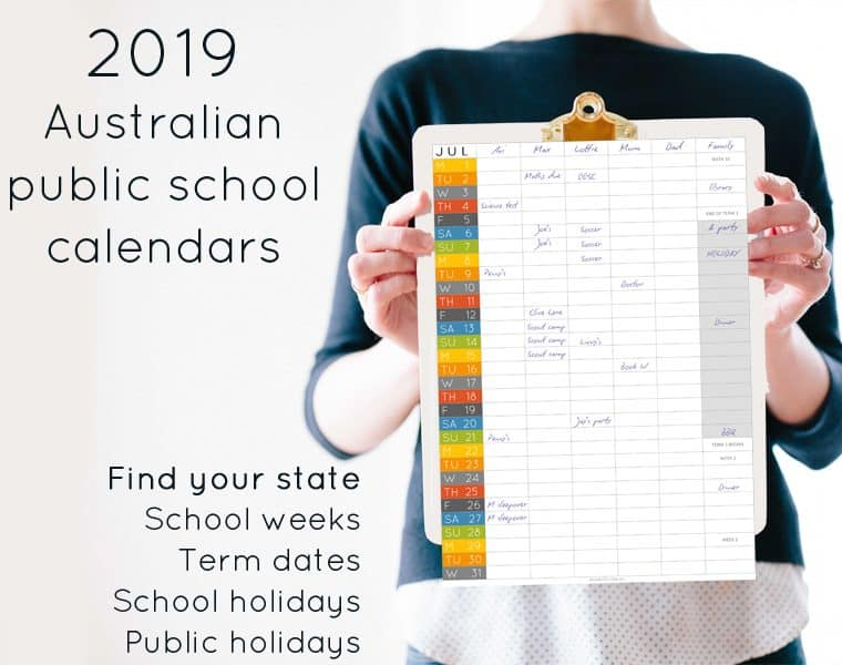 2019 Australian public school calendar - find your state