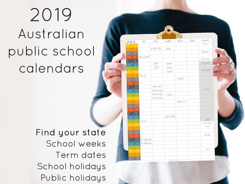 2019 Australian public school calendar: school holidays and term