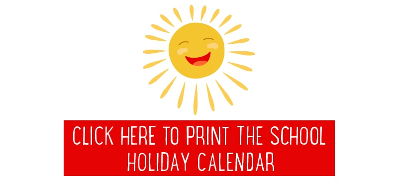 Free things to do in the school holidays - calendar