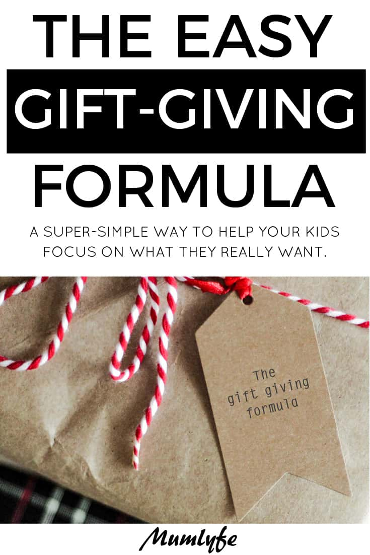 The gift giving formula - a simple way to help kids focus on what really matters #christmas #birthday #gifts #familylife