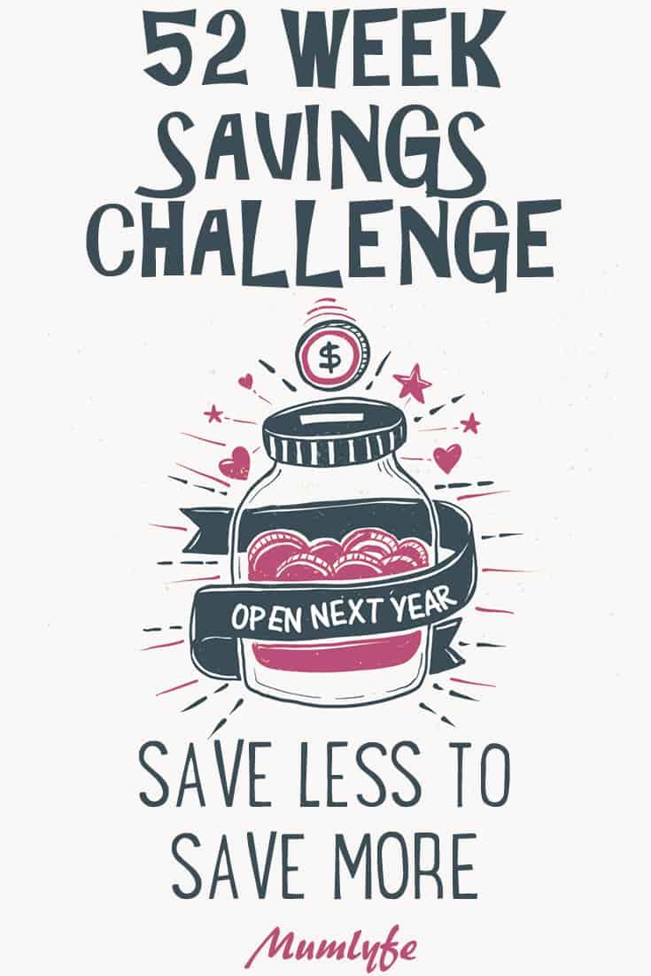 52 week savings challenge - save $1,378 by actually saving less money each week! #savingschallenge #money #budget #mumlyfe