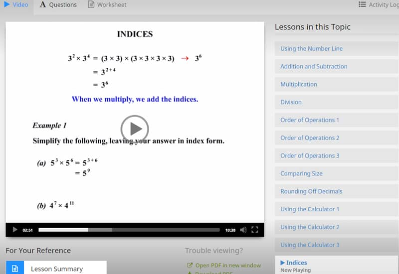 MathsOnline reviews - Clear video tutorials