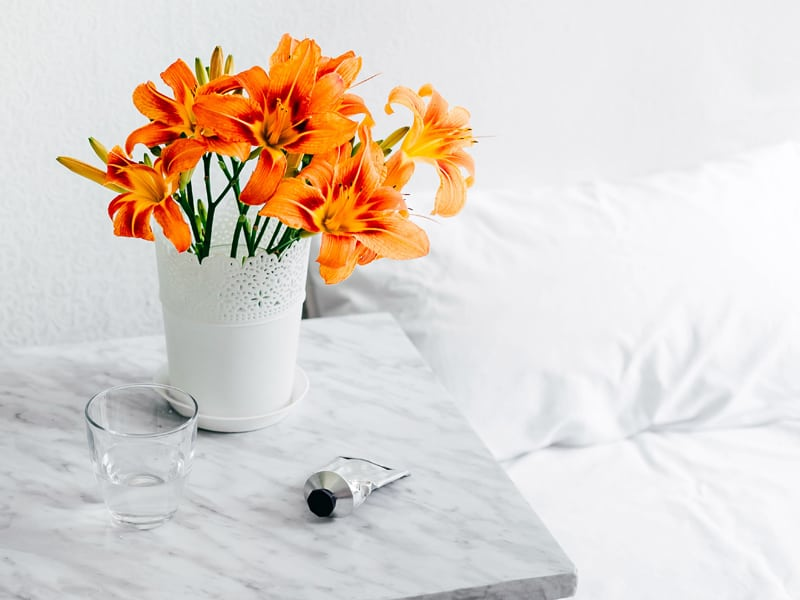 Make birthdays special - leave flowers next to the bed to wake up to