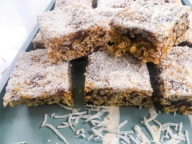 Crispy date slice - easy to make, no bake