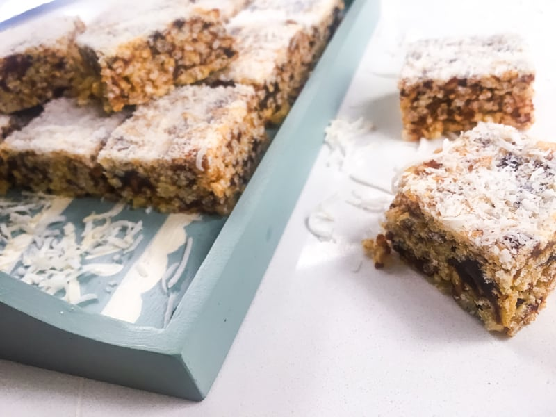 Crispy date slice - freezes well and goes great as an anytime snack