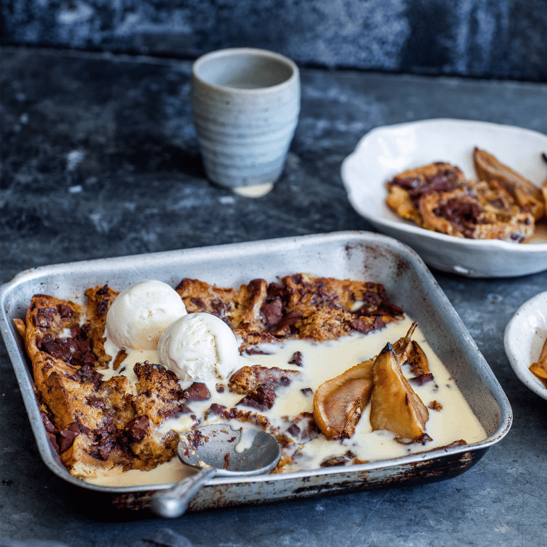Easter lunch ideas - hot cross bun bread and butter pudding from Nadia Lim