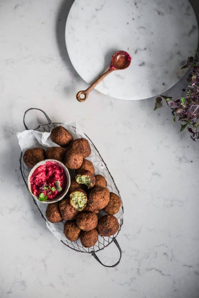 Easter lunch ideas - falafel and beetroot dip by Cook Republic
