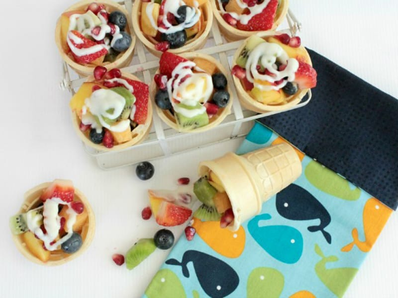 Fruits Salad Ice cream Cones - a great after school snack