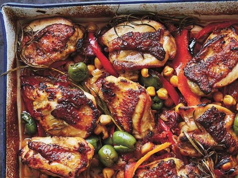 Tray bakes for midweek meals: Chicken and chorizo