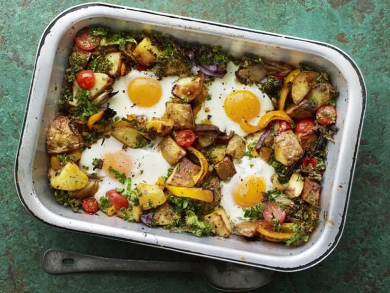 Tray bakes: this one has beautifully cooked eggs