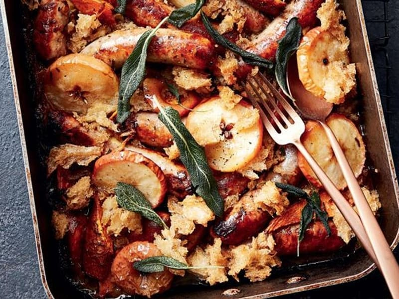 Tray bakes are great, like this sausage and apple tray bake