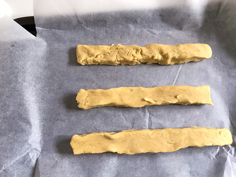 Golden syrup biscuits - make the mix into sausage shapes
