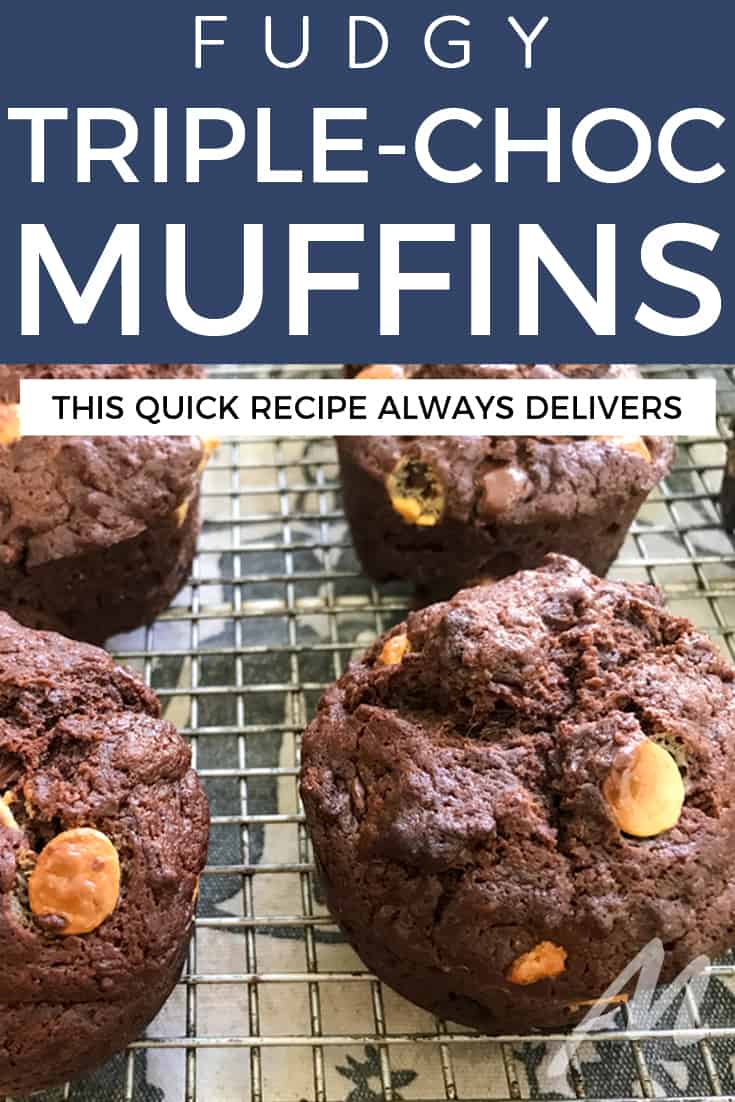 Fudgy triple chocolate chocolate chip muffins
