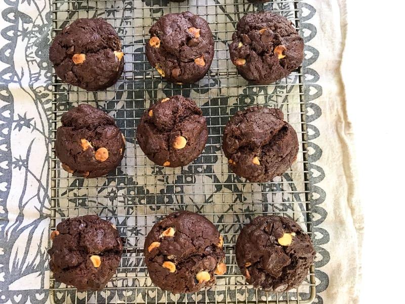 Triple chocolate chocolate chip muffins