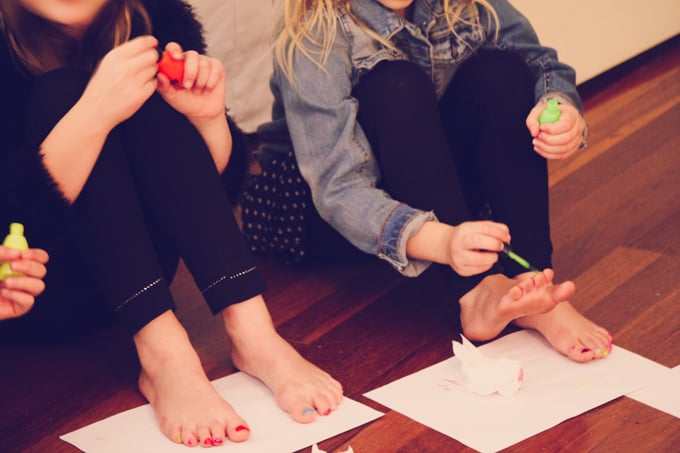 Musical nails - give the kids plenty of time to paint their nail to their liking